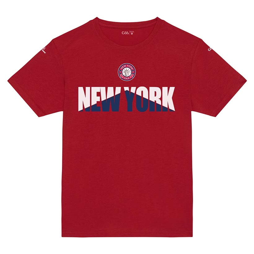 New York Kids Bright Red T-Shirt Arrow Up design