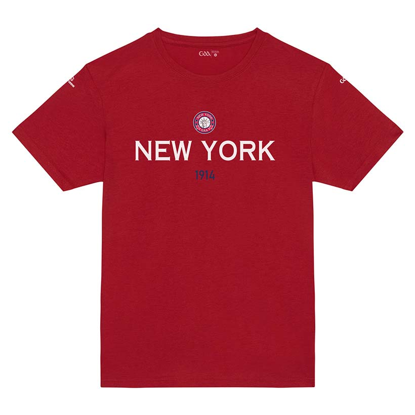 New York Kids Bright Red T-Shirt Collegiate Date design