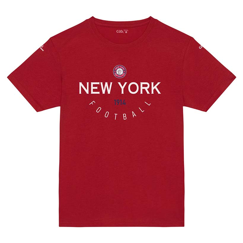 New York Kids  Bright Red T-Shirt Collegiate Football design