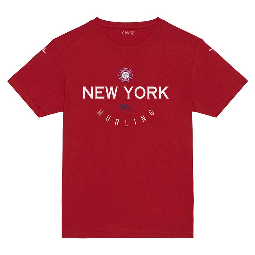 New York Kids Bright Red T-shirt Collegiate Hurling design