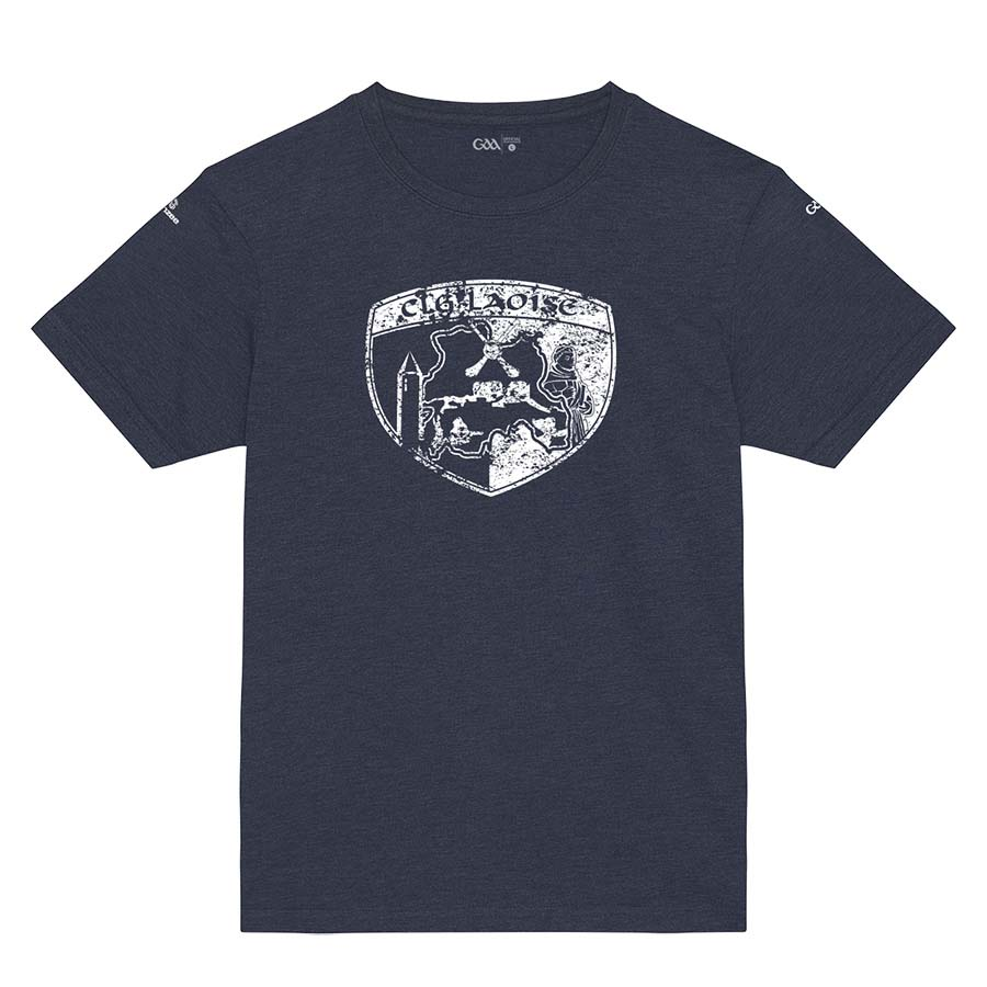 Laois Kids French Navy T-shirt Distressed Crest design