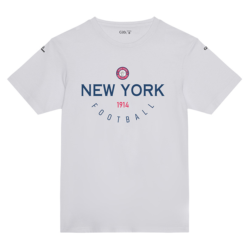 New York Kids  White T-Shirt Collegiate Football design