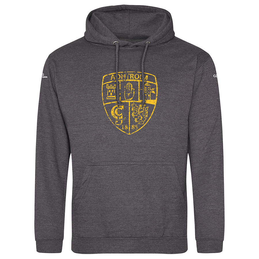 Antrim Mens Charcoal Grey Hoodie Distressed Crest design