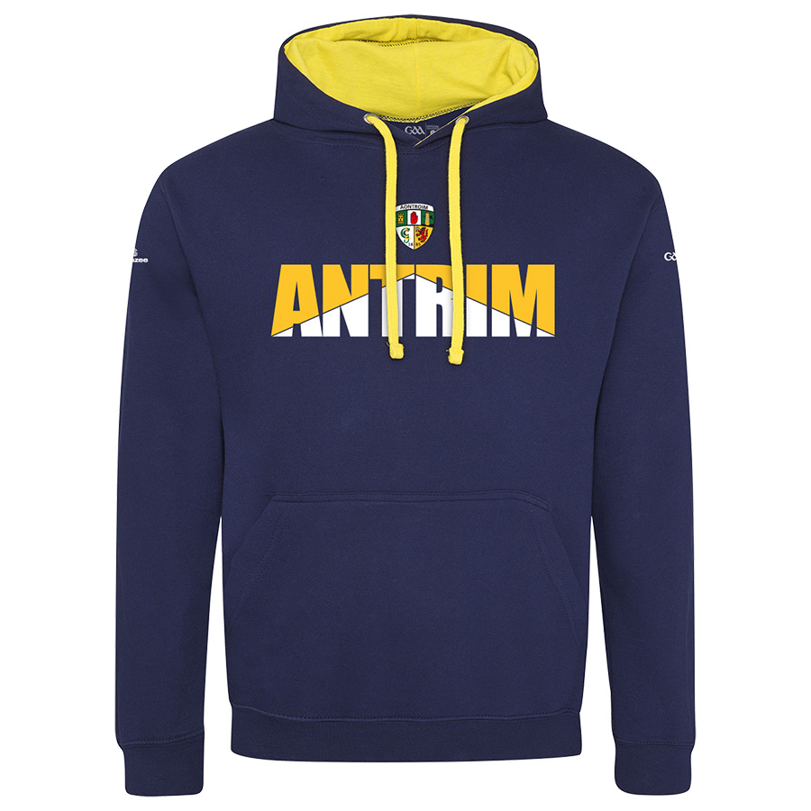 Antrim Mens Oxford Navy with Sun Yellow lining 2-Tone Hoodie Arrow Up design