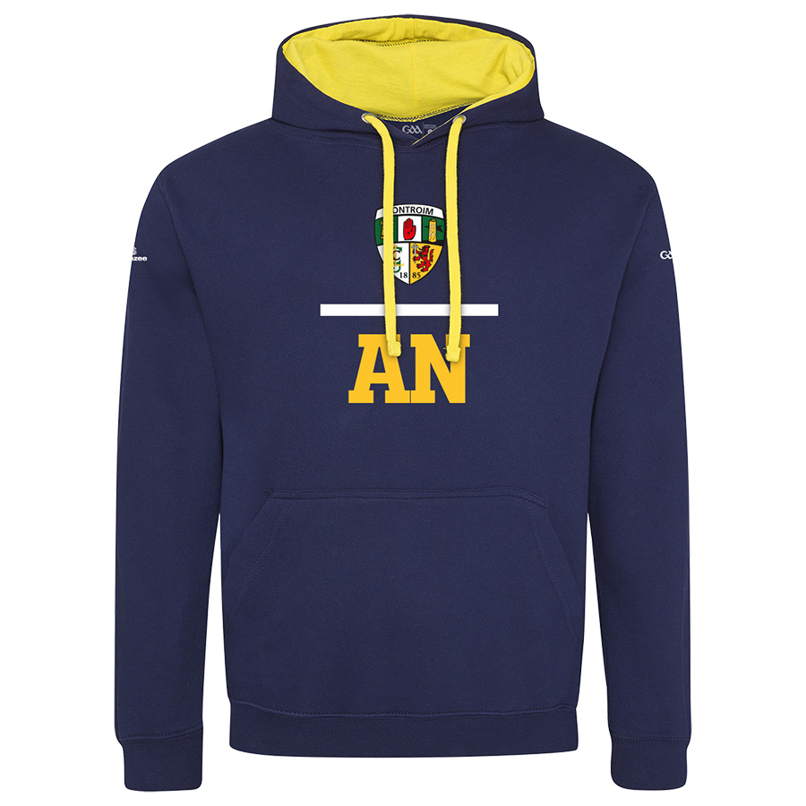 Antrim Mens Oxford Navy with Sun Yellow lining 2-Tone Hoodie Equation design