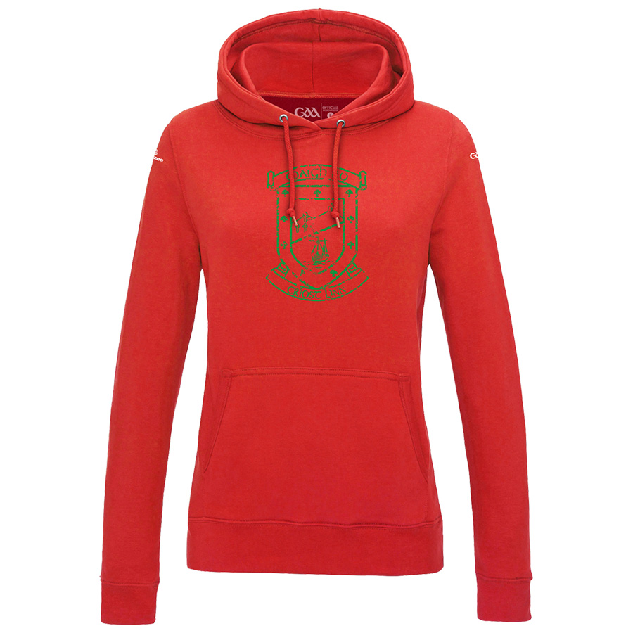 Mayo Womens Fire Red Hoodie  Distressed Crest design