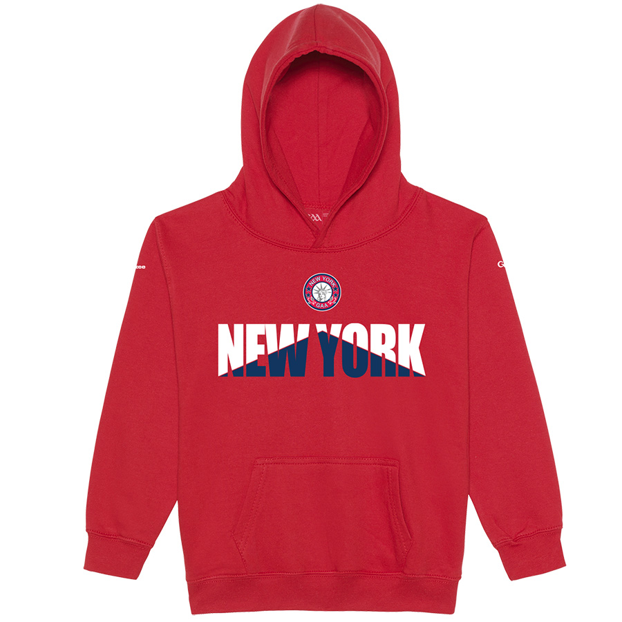 New York Kids Fire Red  Hoodie Arrow Up design