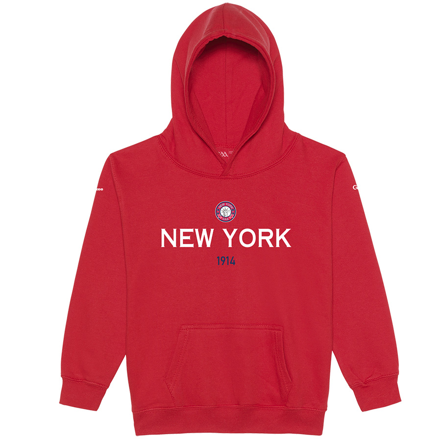 New York Kids Fire Red  Hoodie Collegiate Date design