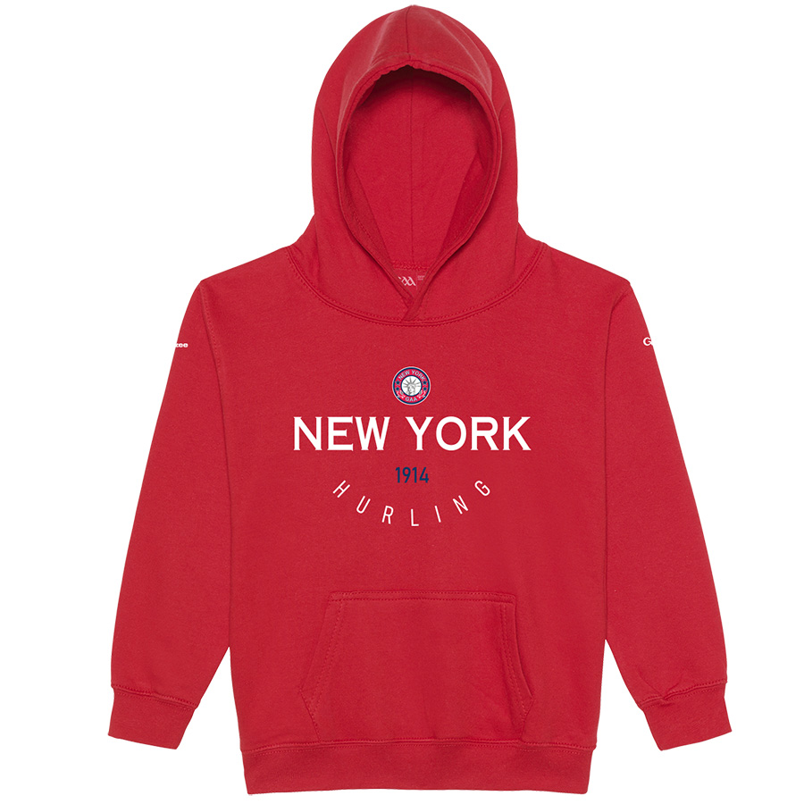 New York Kids Fire Red  Hoodie Collegiate Hurling design