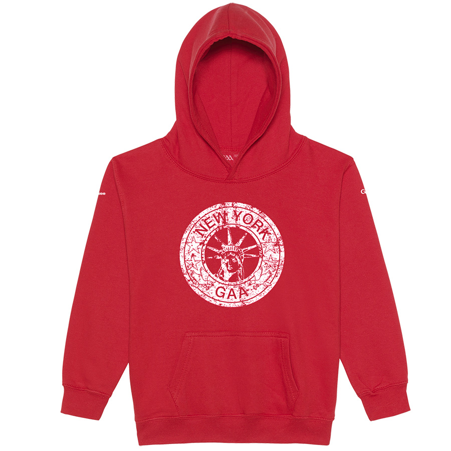 New York Kids Fire Red  Hoodie Distressed Crest design