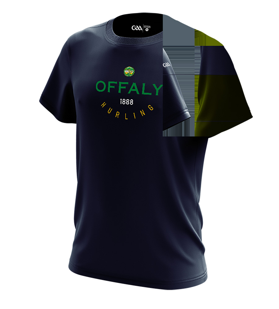 Offaly Mens French Navy T-Shirt Collegiate Hurling design