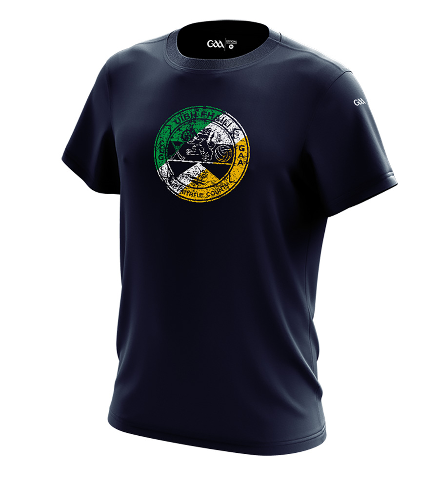 Offaly Mens French Navy T-Shirt Distressed Crest design