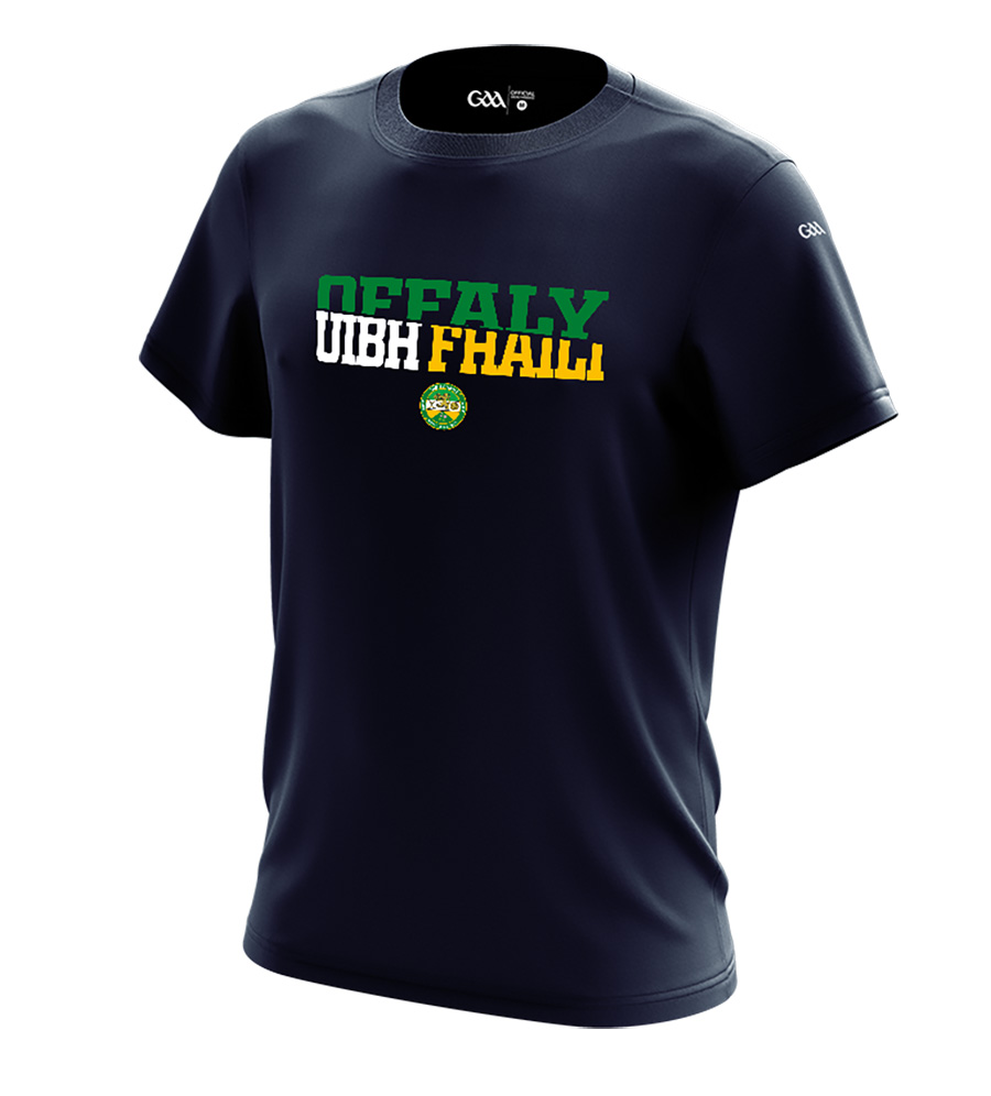 Offaly Mens French Navy T-Shirt Sliced County Name design