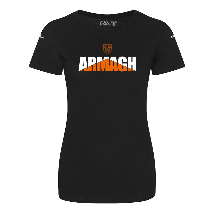 Armagh Womens Solid Black T-Shirt Arrow Up design