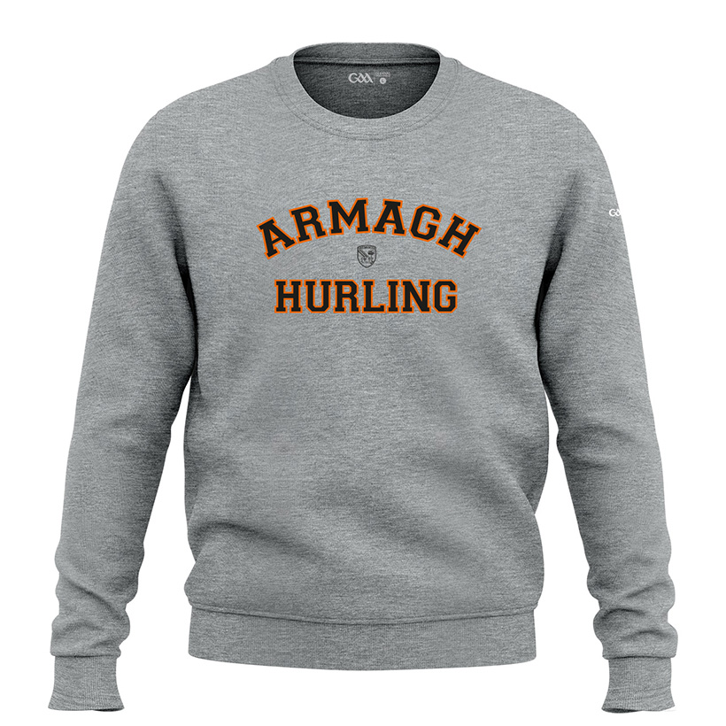 Armagh Mens Heather Grey  Sweatshirt  Collegiate Hurling design