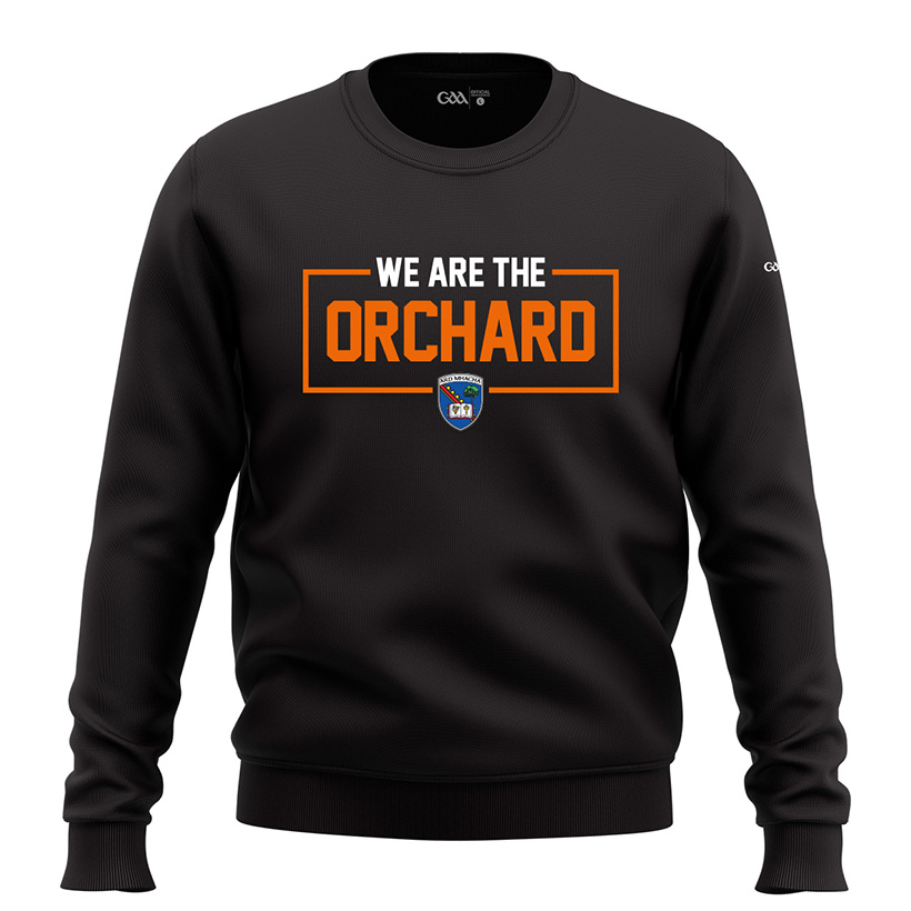 Armagh Mens Jet Black  2-Tone Sweatshirt We Are The Orchard design